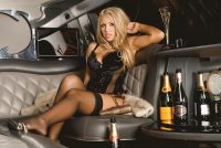 Hot pictures of Anette Dawn in limousine