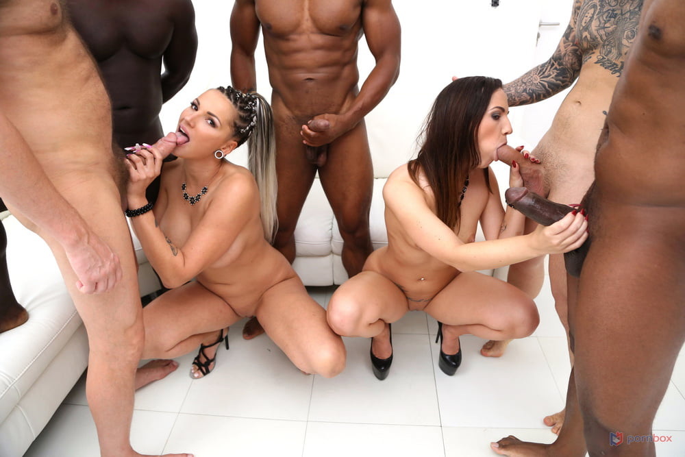 5 guys Kristy Black and Jolee Love hardcore group sex