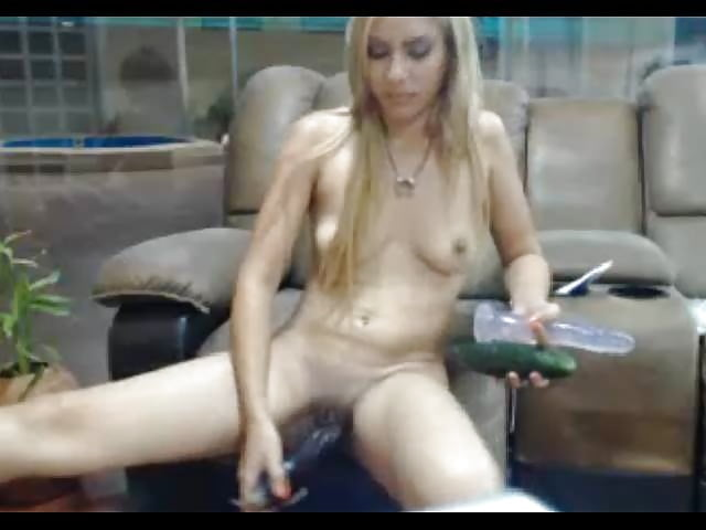 Masturbating with eggplant insertion