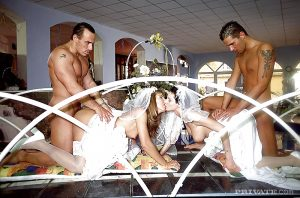 Sex pictures with bridal gowns on the wedding night!