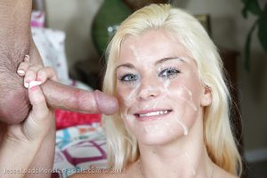 Blue eyed blonde and squirt cum in face!
